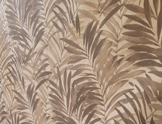 "Linen coated "" brown palm tree ""."