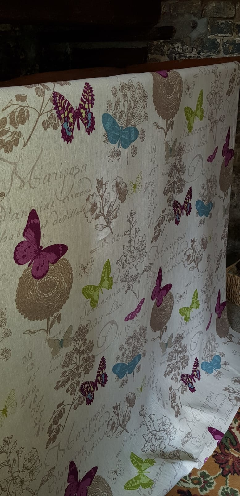 fabric coloured butterflies on white background