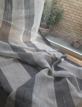 Ecru and grey striped curtain