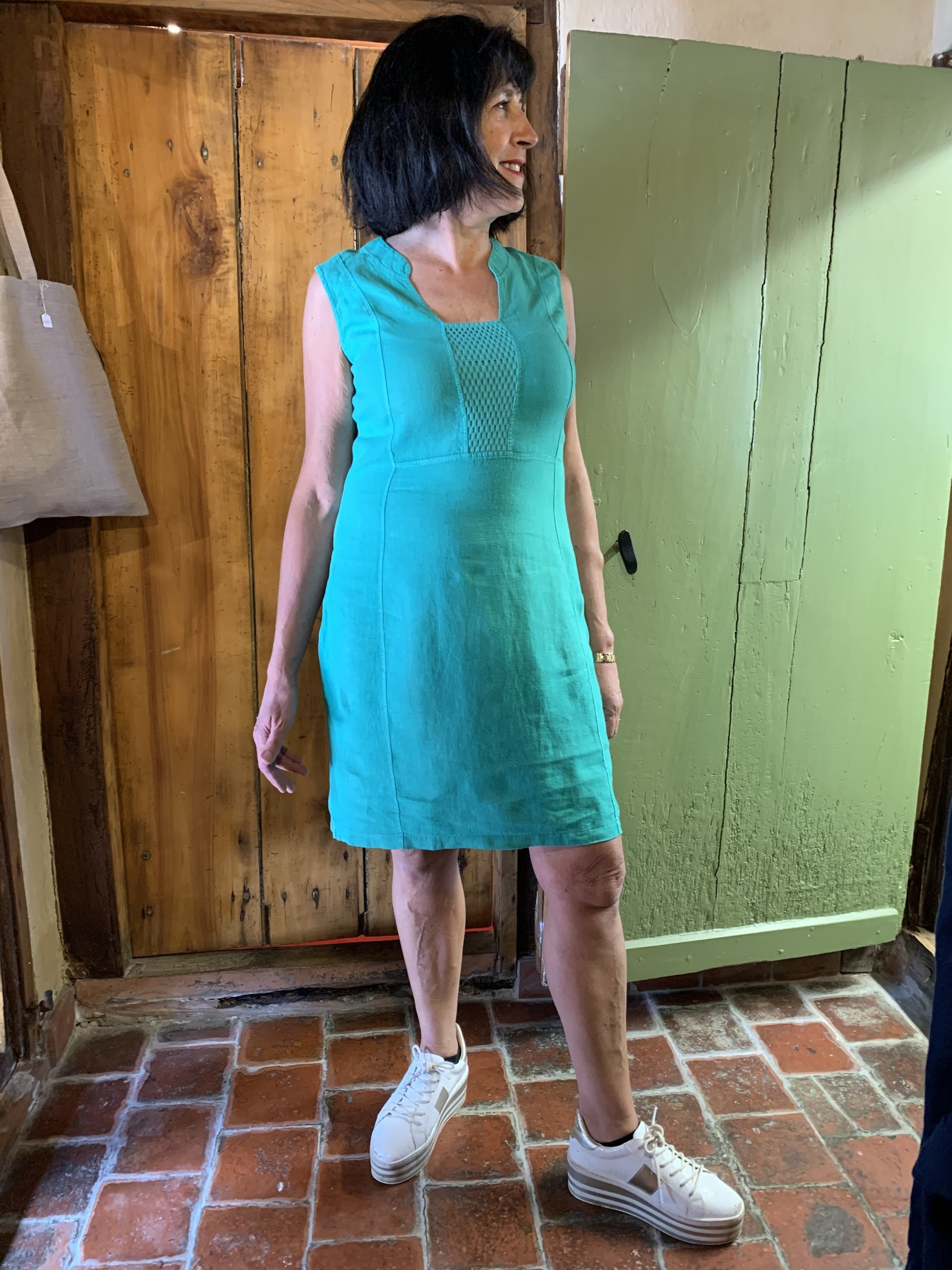 Maloka Robe ruby vert celadon