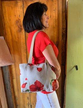 Le grenier du lin sac à main coquelicot