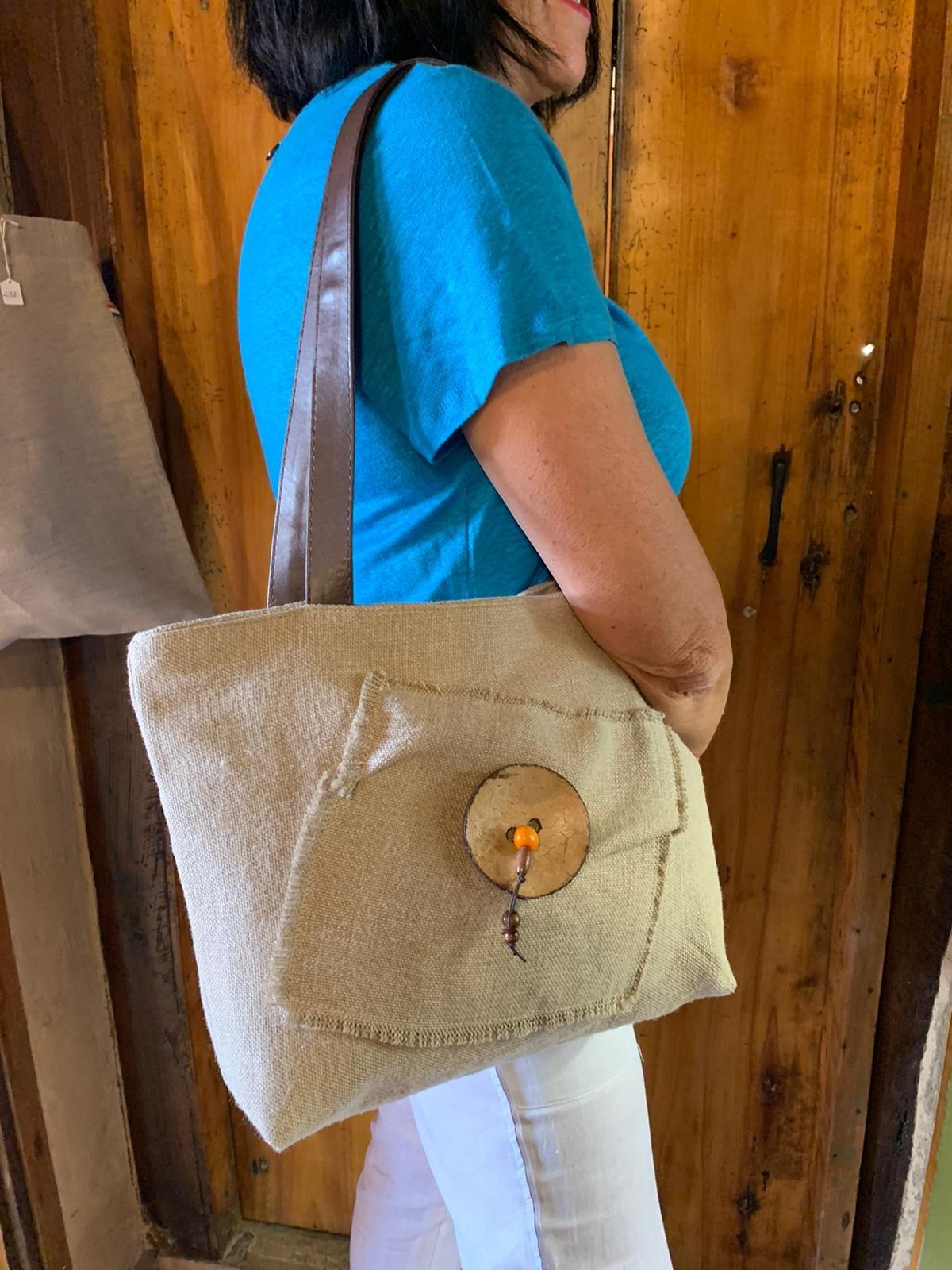 "Le grenier du lin sac bouton coco "" naturel """