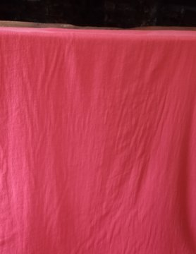 Red washed linen fabric large width