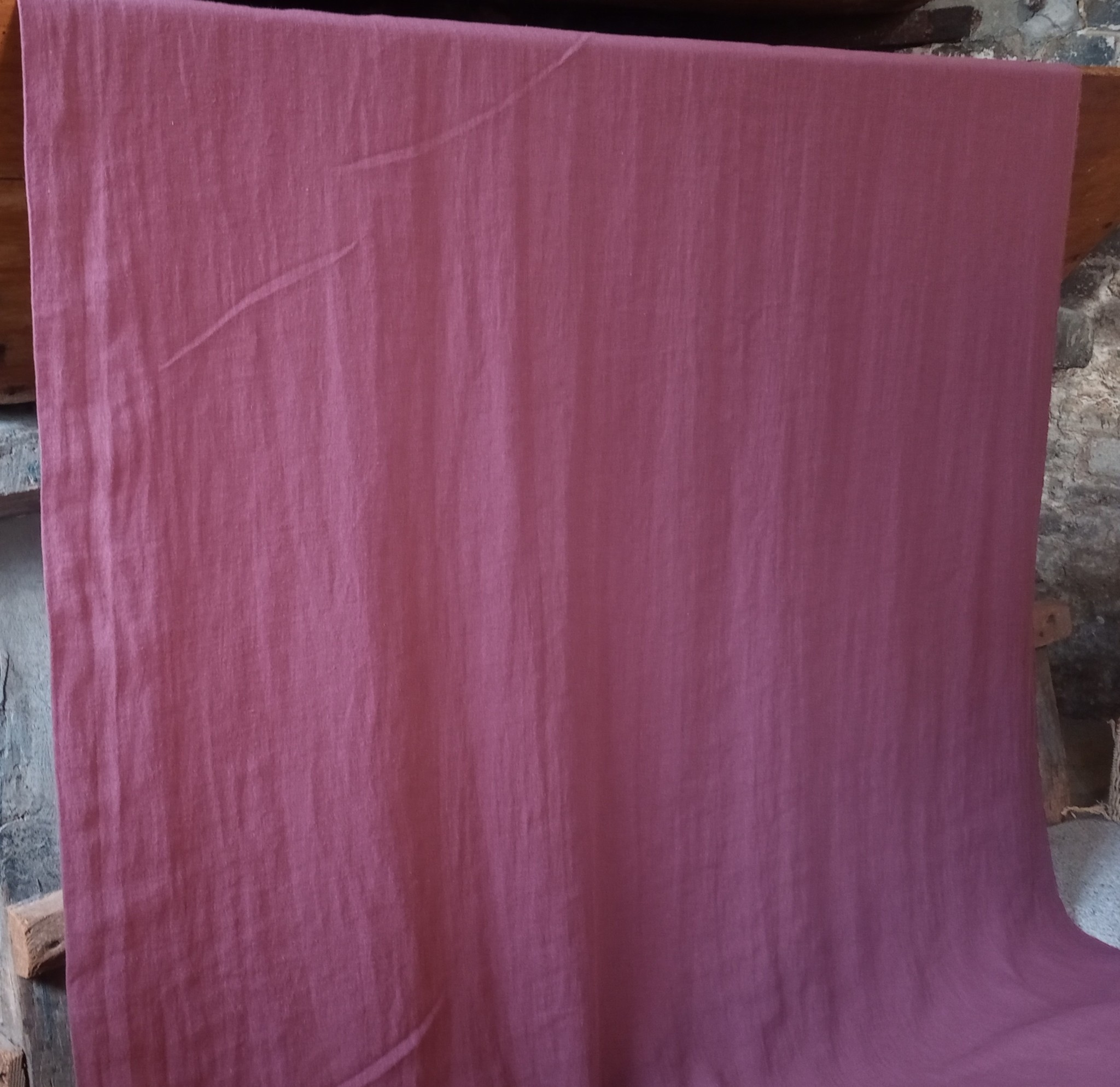 Linen fabric washed wine lees large width