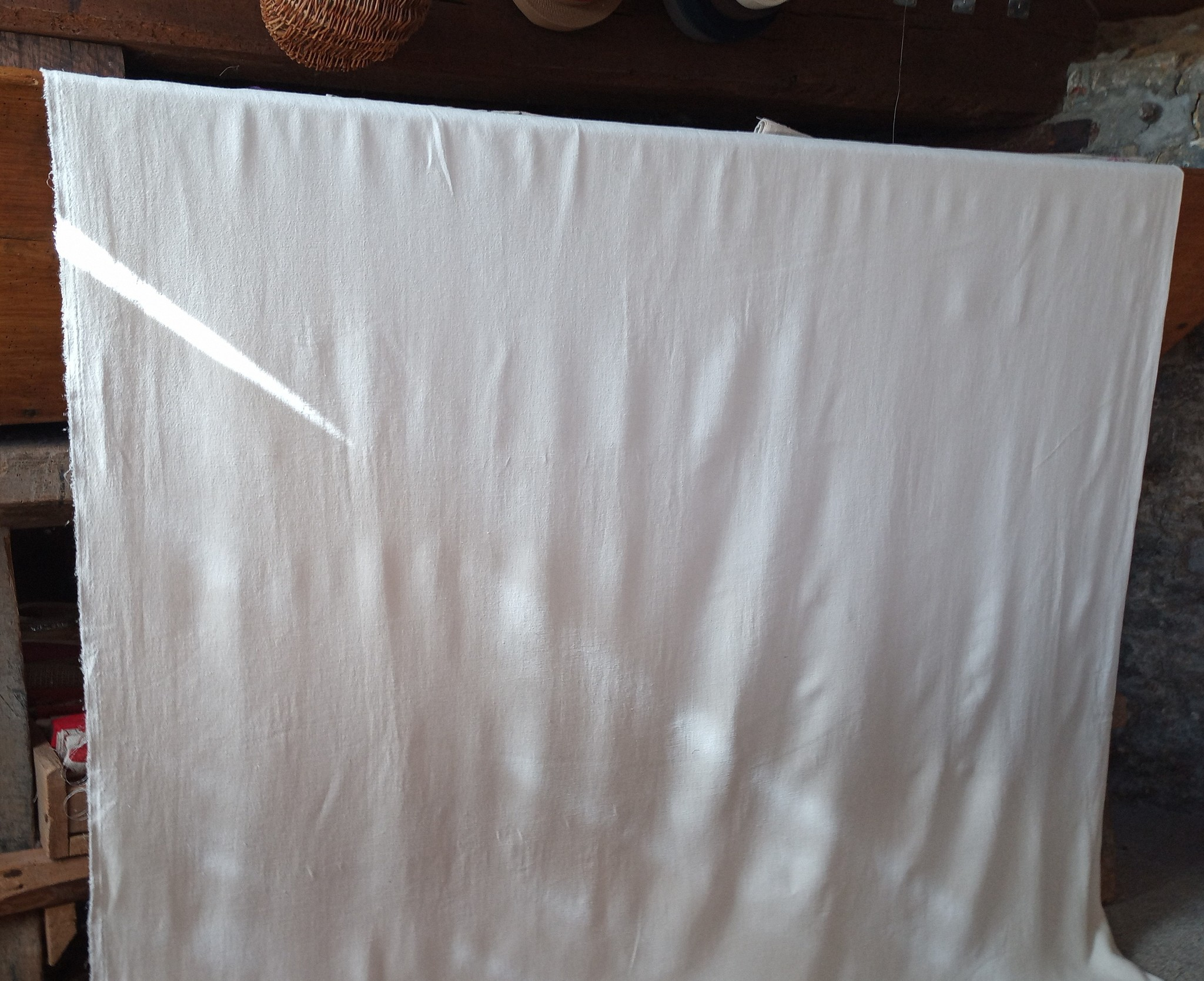 Off-white washed linen fabric large width