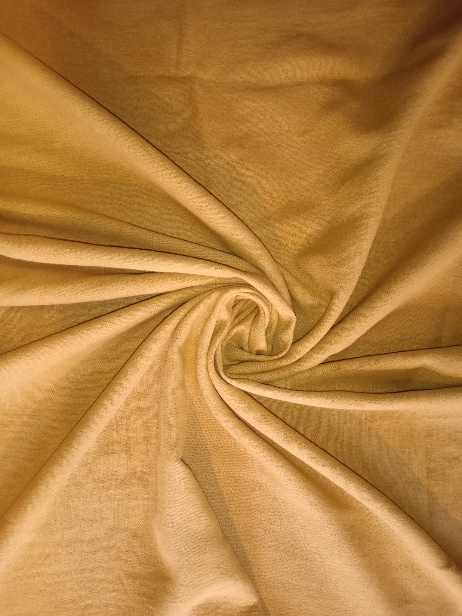 Tissu lin lavé moutarde  grande largeur