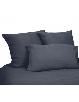 flat sheet in denim blue washed linen