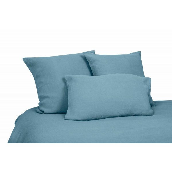 drap plat en lin lavé bleu stone