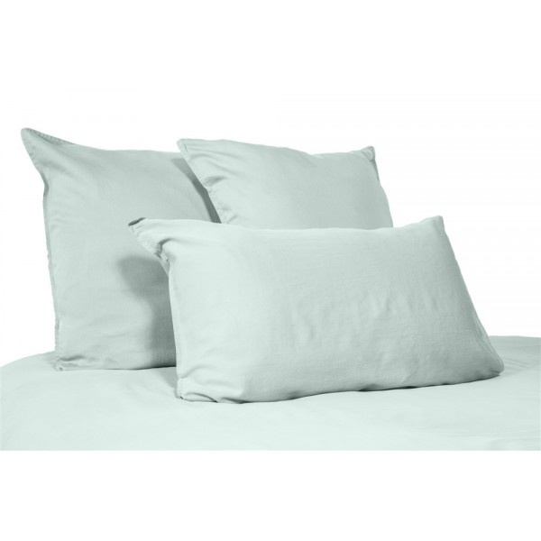 pillow case in washed linen celadon