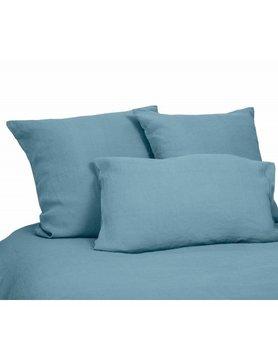 kussensloop in steenblauw gewassen linnen