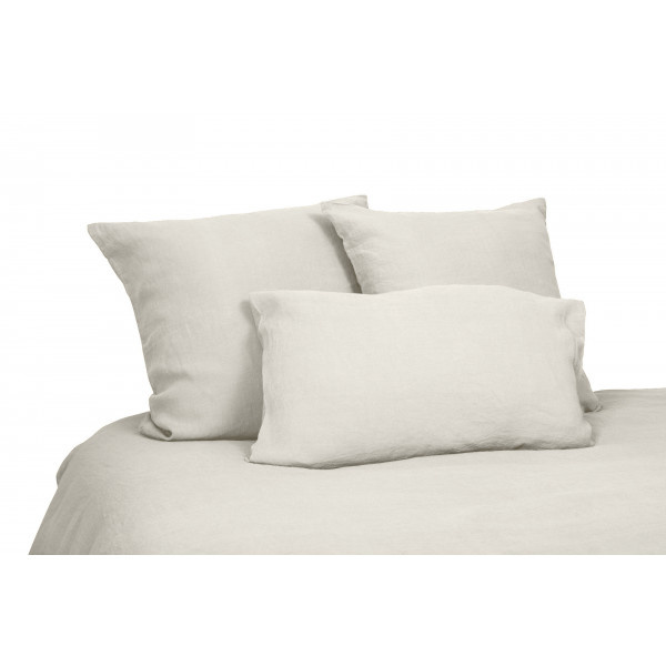 Duvet cover in washed linen ivory