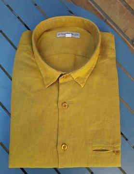 Le grenier du lin Saffraan Geel Hout Slim Fit Overhemd