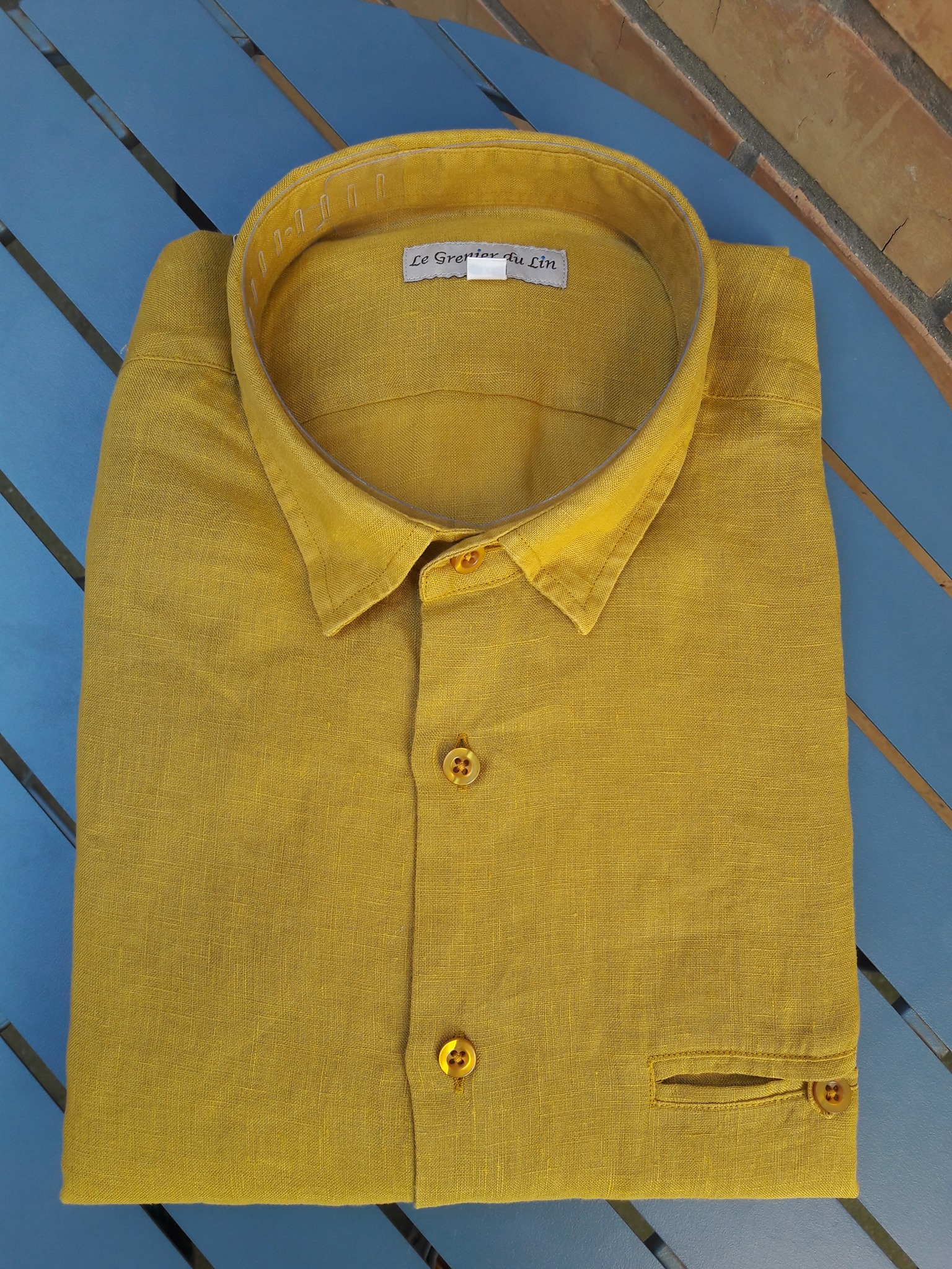 Le grenier du lin Slim-fitted shirt wood saffron yellow