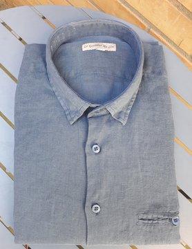 Le grenier du lin Wood slate blue slim-fitted linen shirt