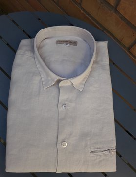 Le grenier du lin Slank gesneden linnen overhemd Hout naturel of ecru kleur