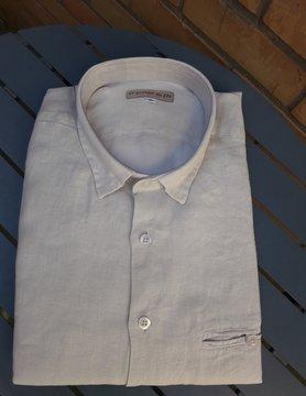 Le grenier du lin Slim-fitted linen shirt Wood natural or ecru colour