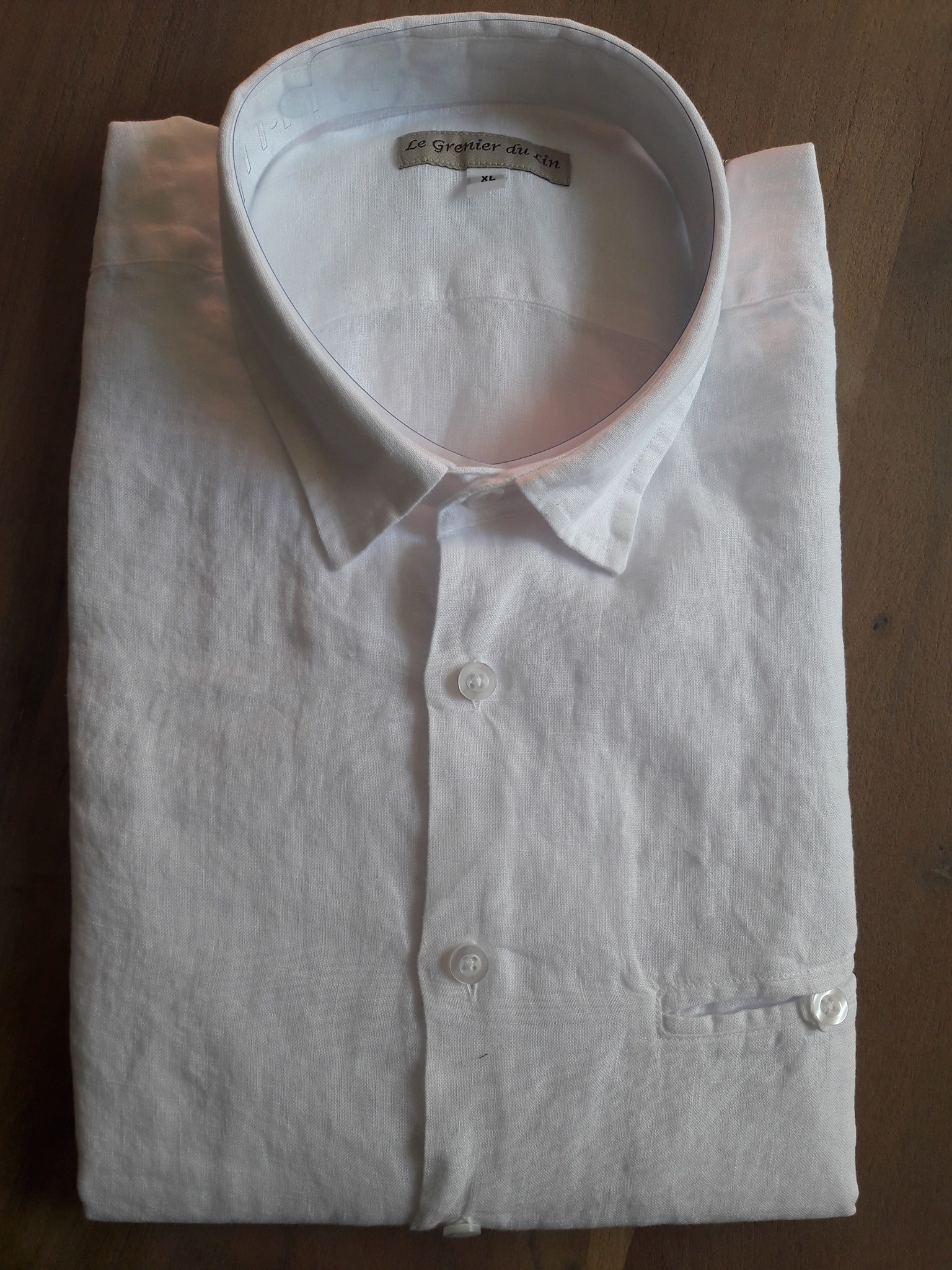 Le grenier du lin Wit Wood slim fit linnen overhemd