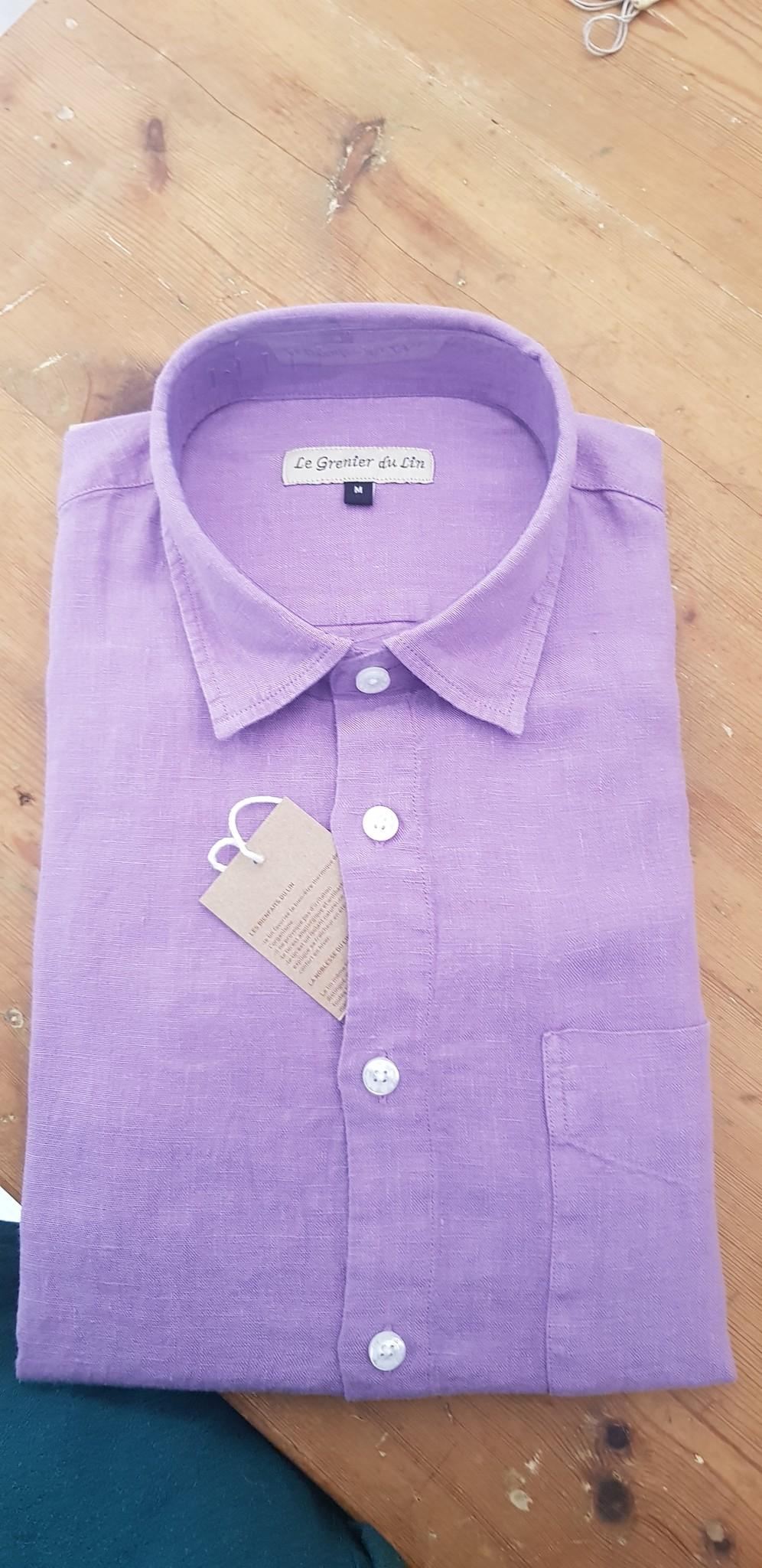 Le grenier du lin Chemise manches longues lilas