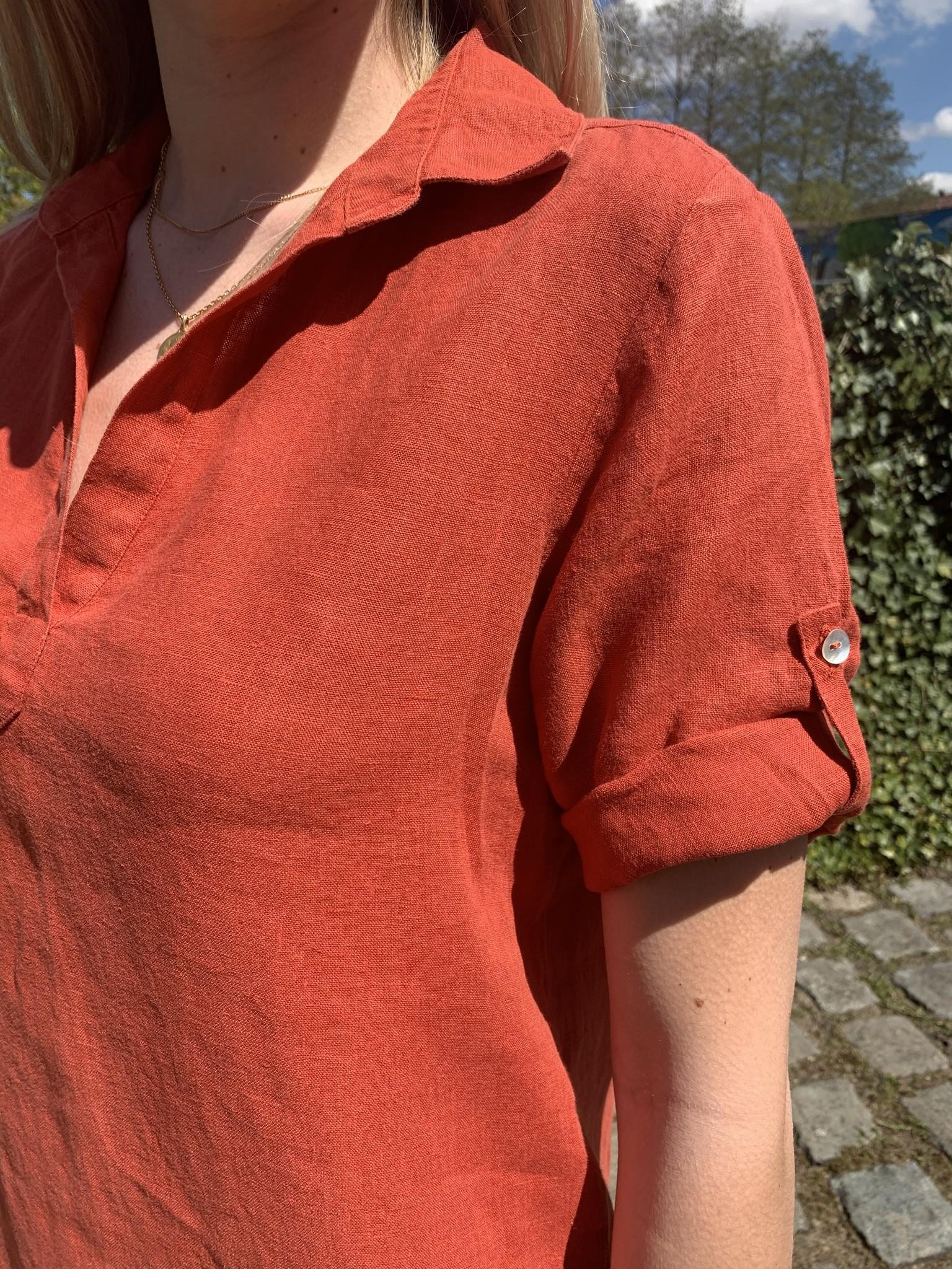 Le grenier du lin Lia jurk in tomaatrood