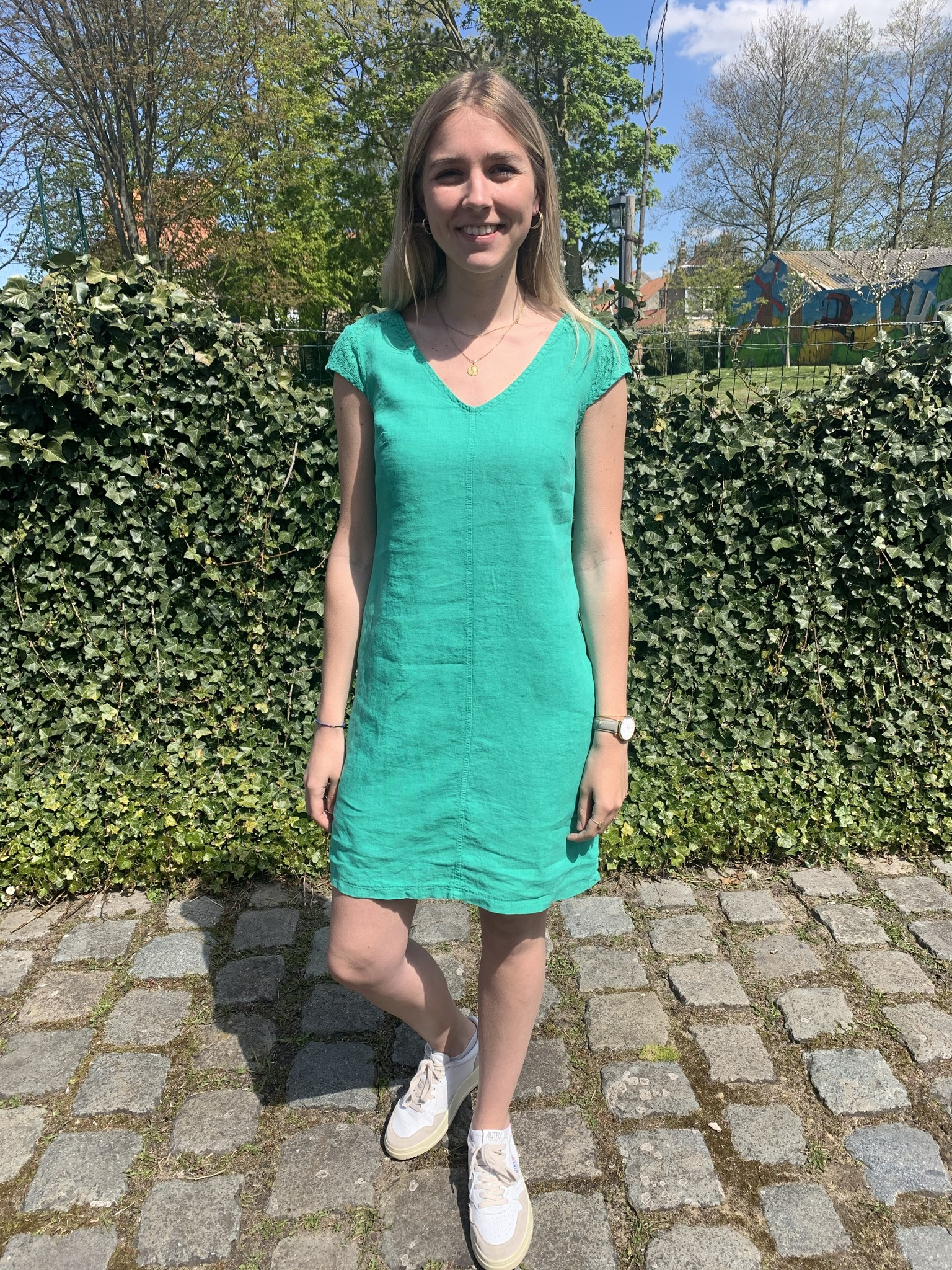Maloka Celadon green reeva dress
