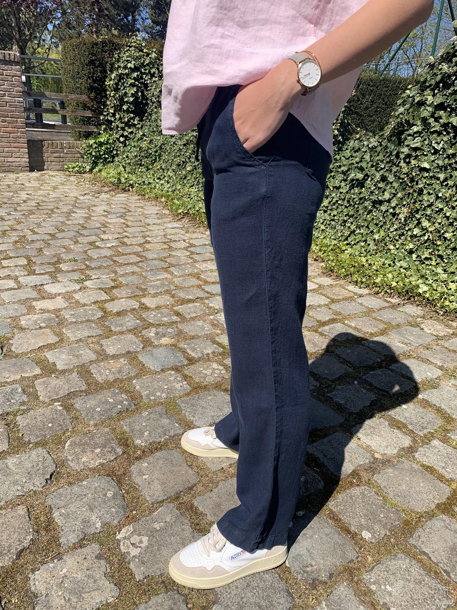 Damesbroek met rits marineblauw