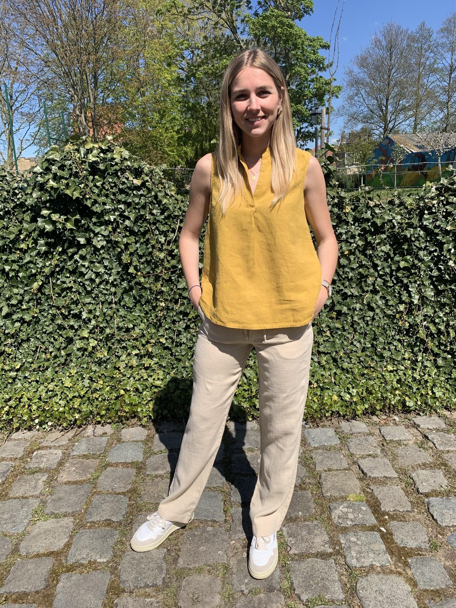 Pantalon femme zippé beige