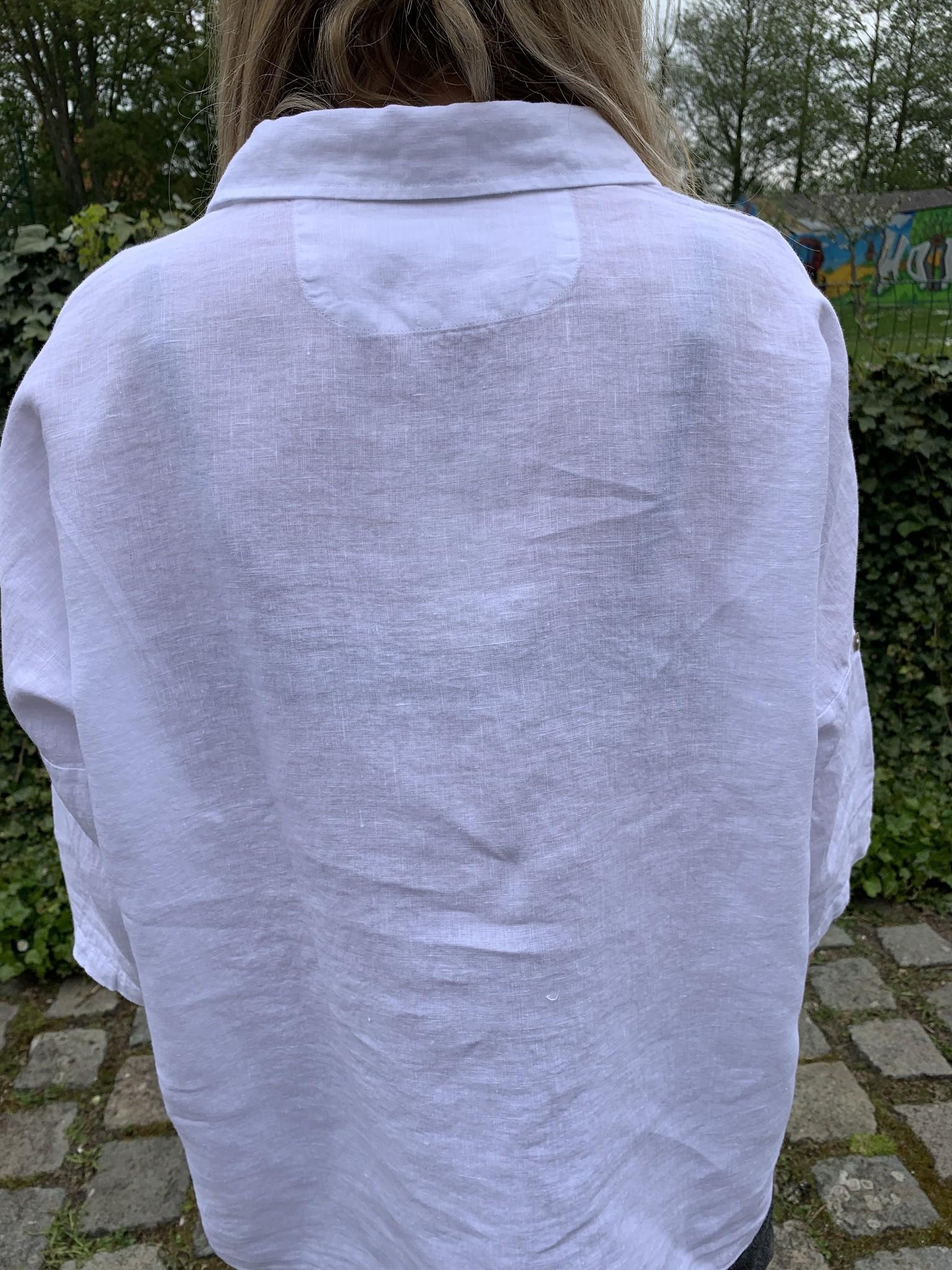 large white linen blouse
