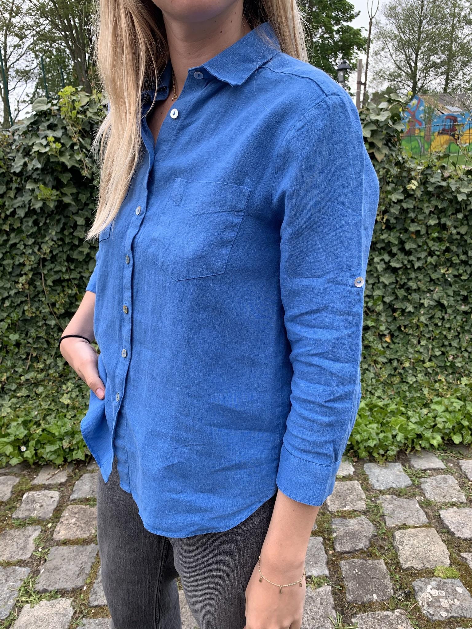Le grenier du lin 3/4 mouwen puur linnen blouse blauw caraibes