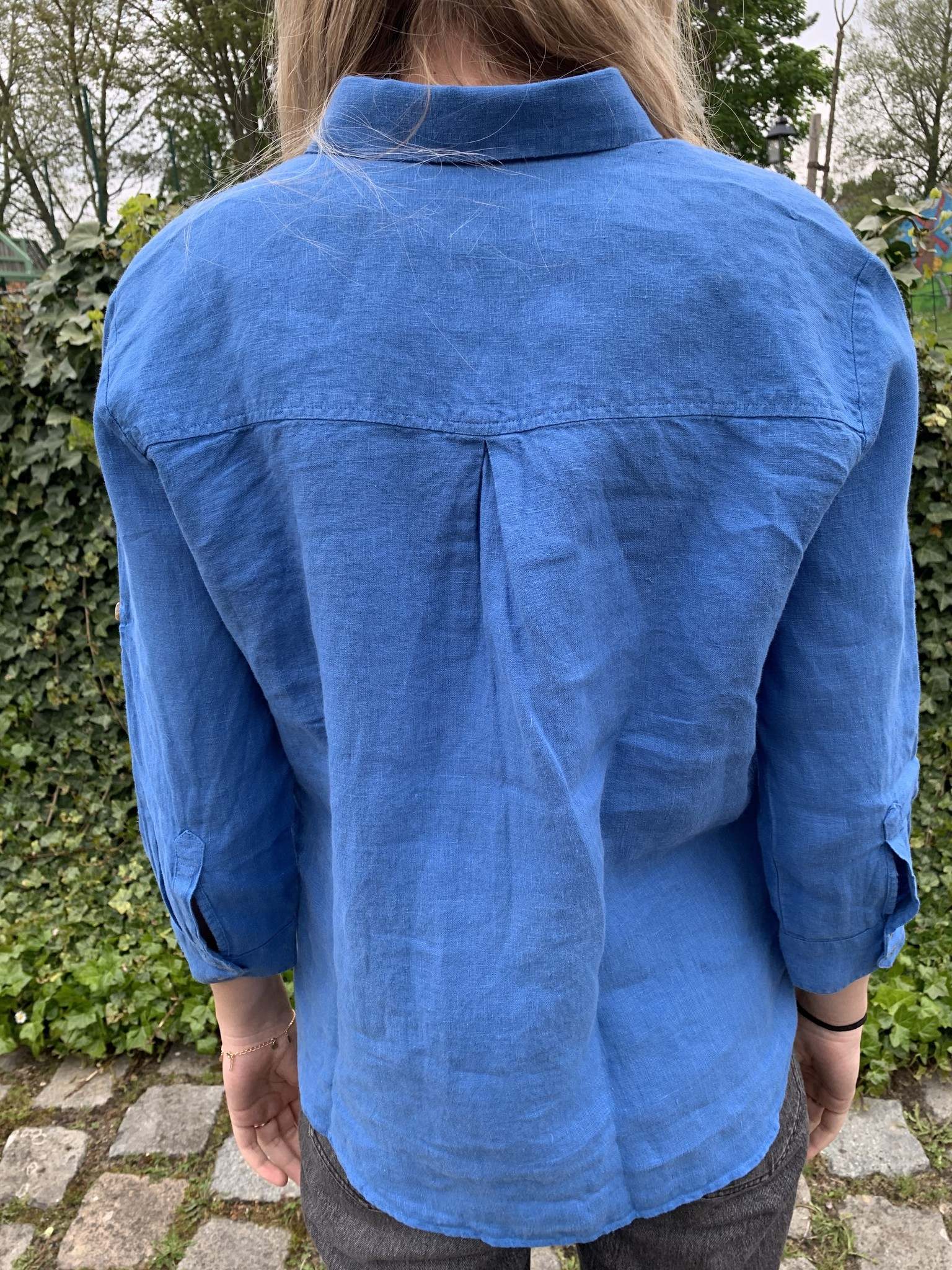 Le grenier du lin Caribbean blue pure linen blouse with 3/4 sleeves