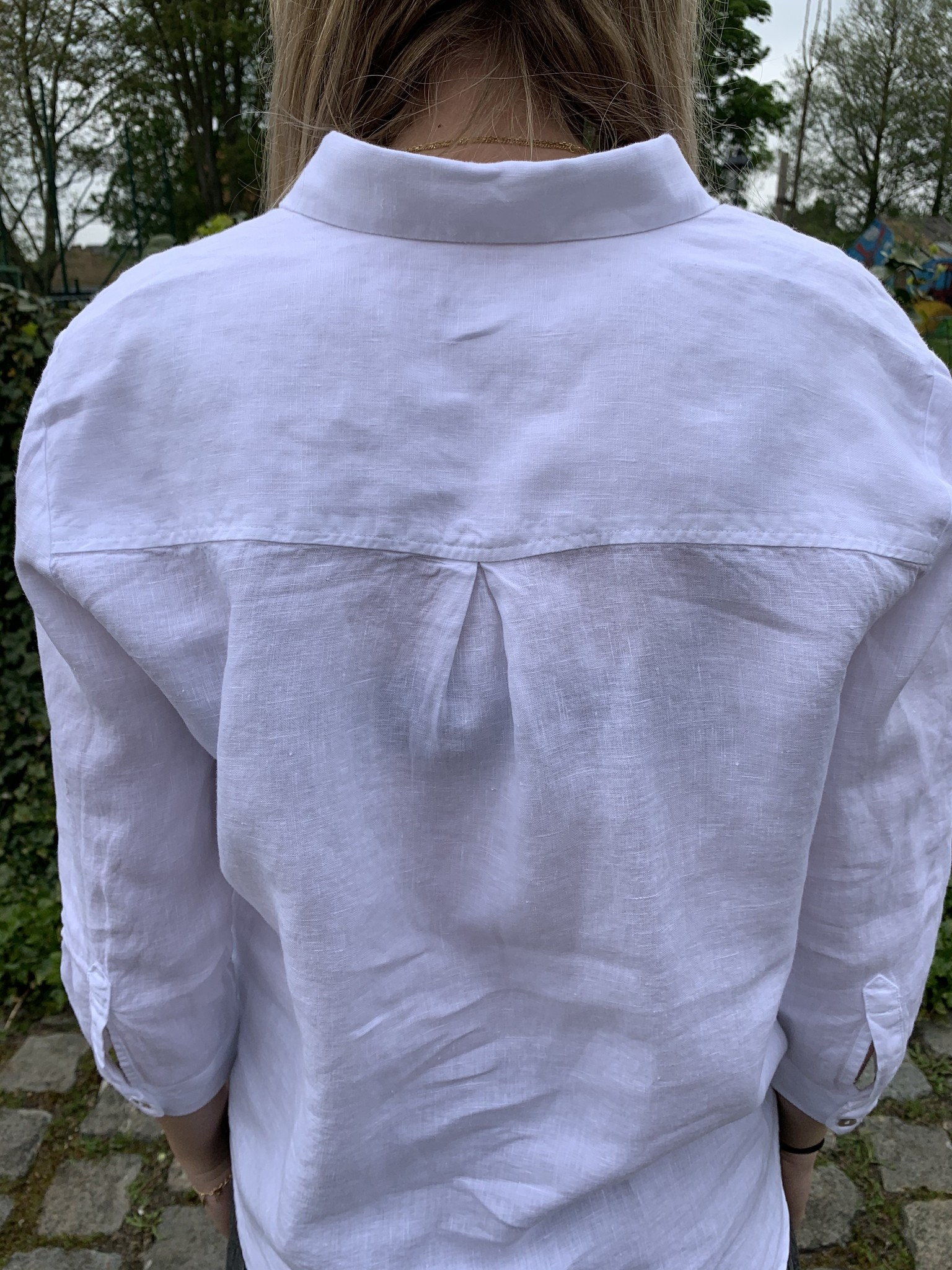 Pure linen blouse with 3/4 sleeves white