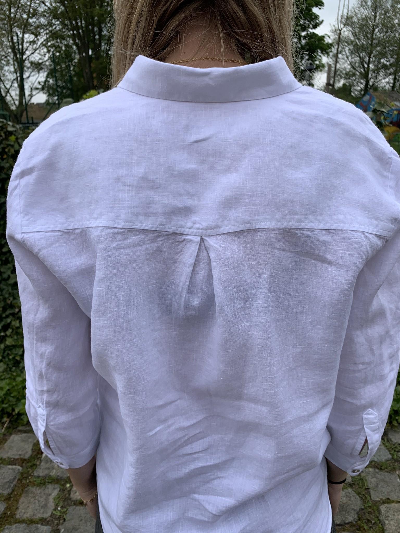 Zuiver linnen blouse met 3/4 mouwen wit