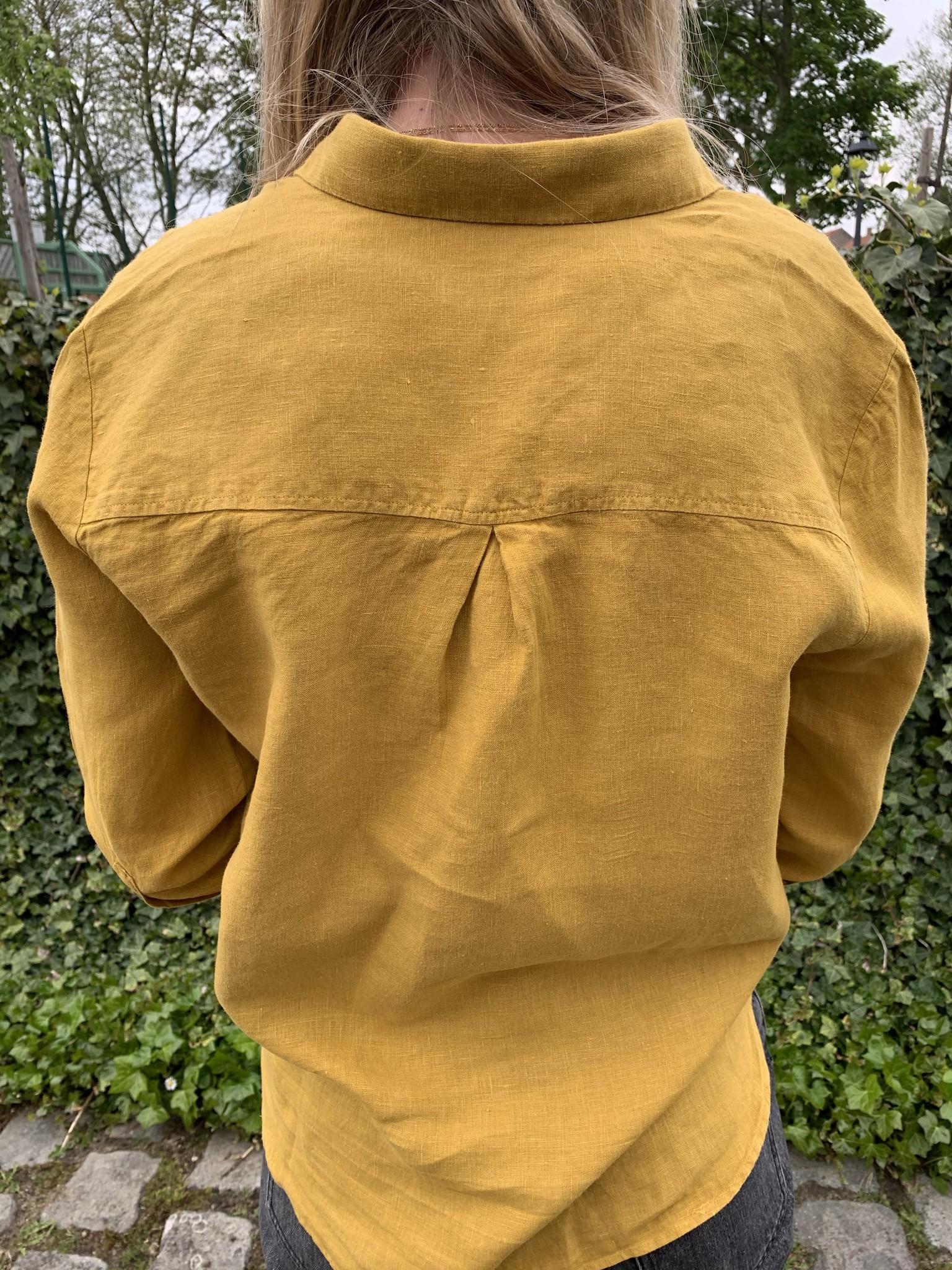 Le grenier du lin 3/4 sleeves pure linen blouse saffron yellow