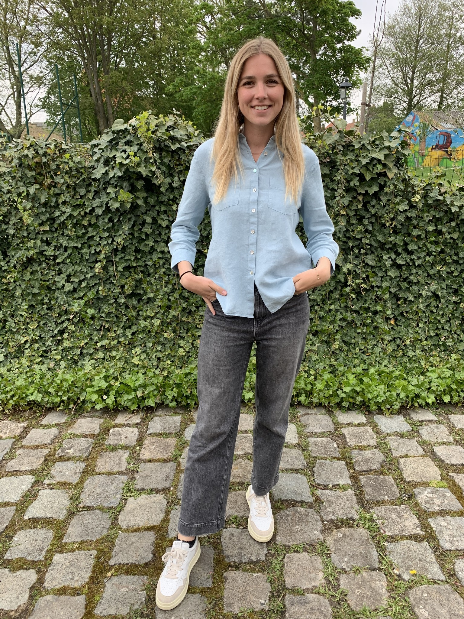 Le grenier du lin 3/4 mouwen lichtblauw puur linnen blouse