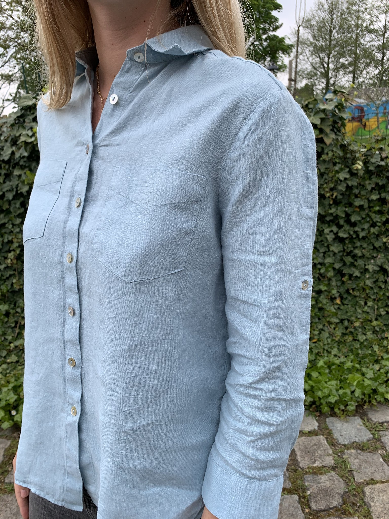 Le grenier du lin Chemisier pur lin manches 3/4 bleu clair