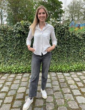Le grenier du lin 3/4 sleeves light beige pure linen blouse