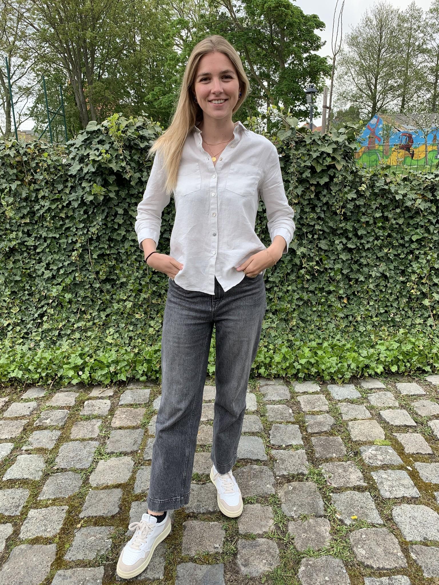 Le grenier du lin Zuiver linnen blouse, 3/4 mouwen, licht beige