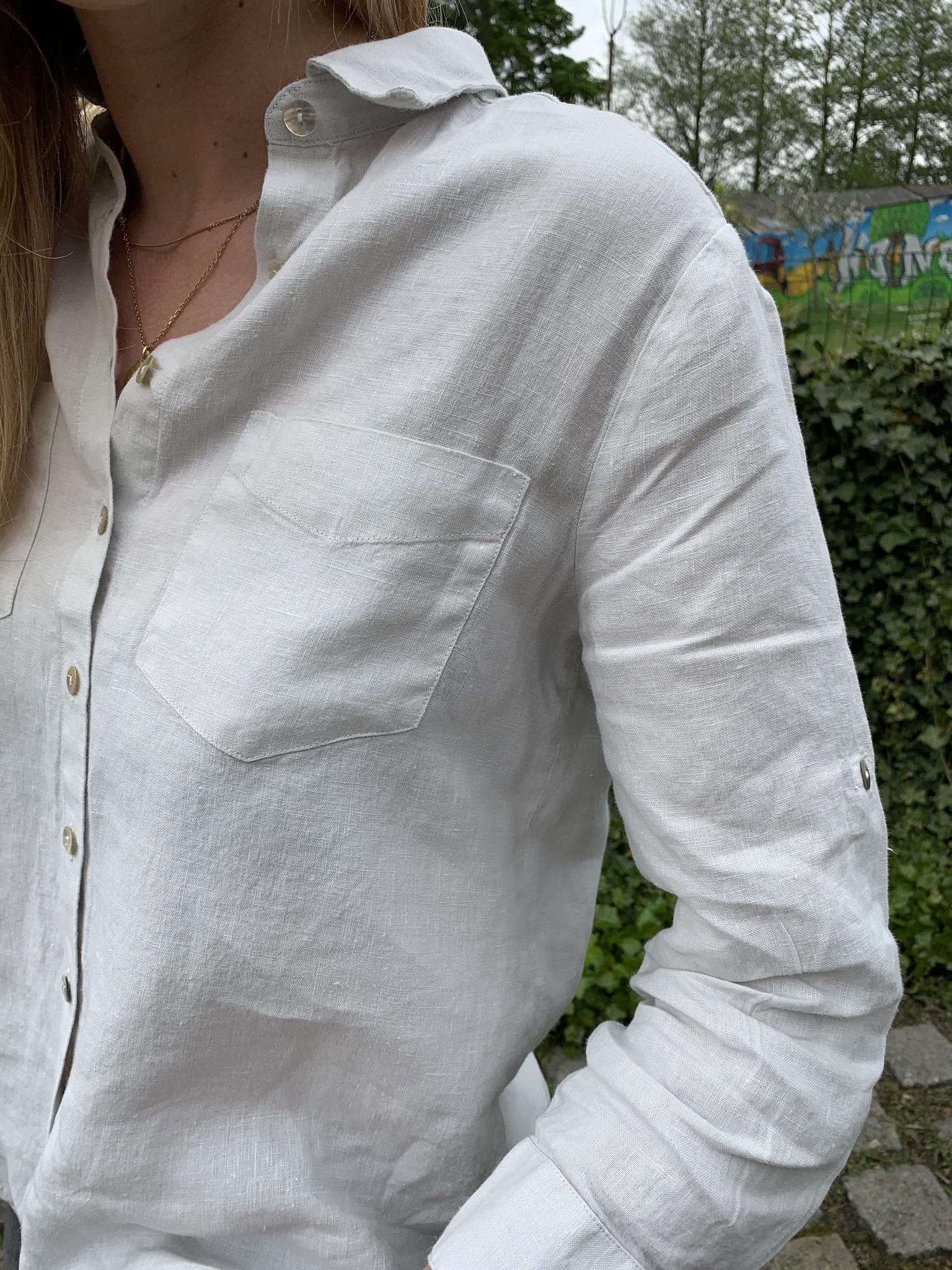 Le grenier du lin Chemisier pur lin manches 3/4 beige clair