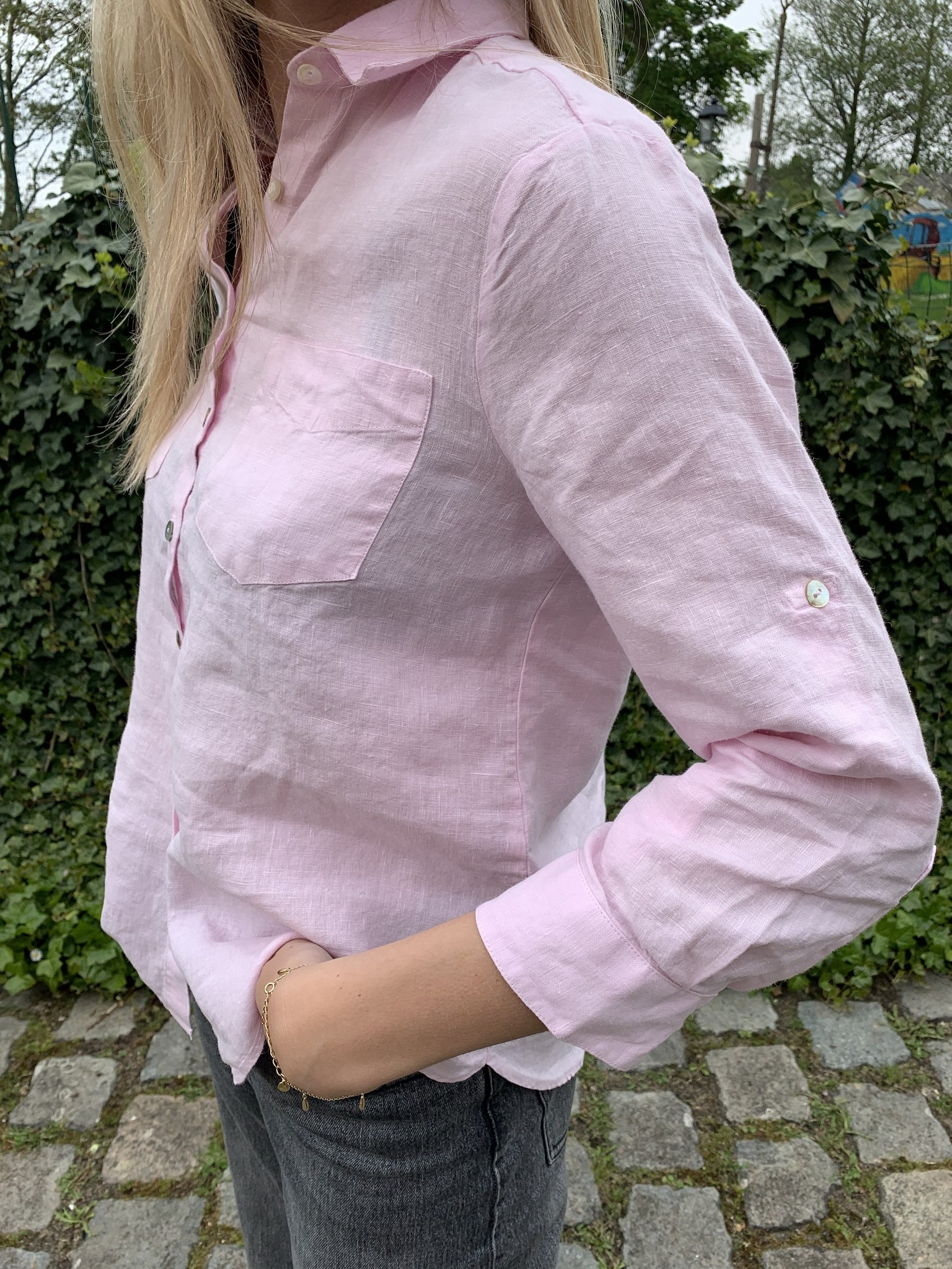 Pure linen blouse, 3/4 sleeves, pale pink