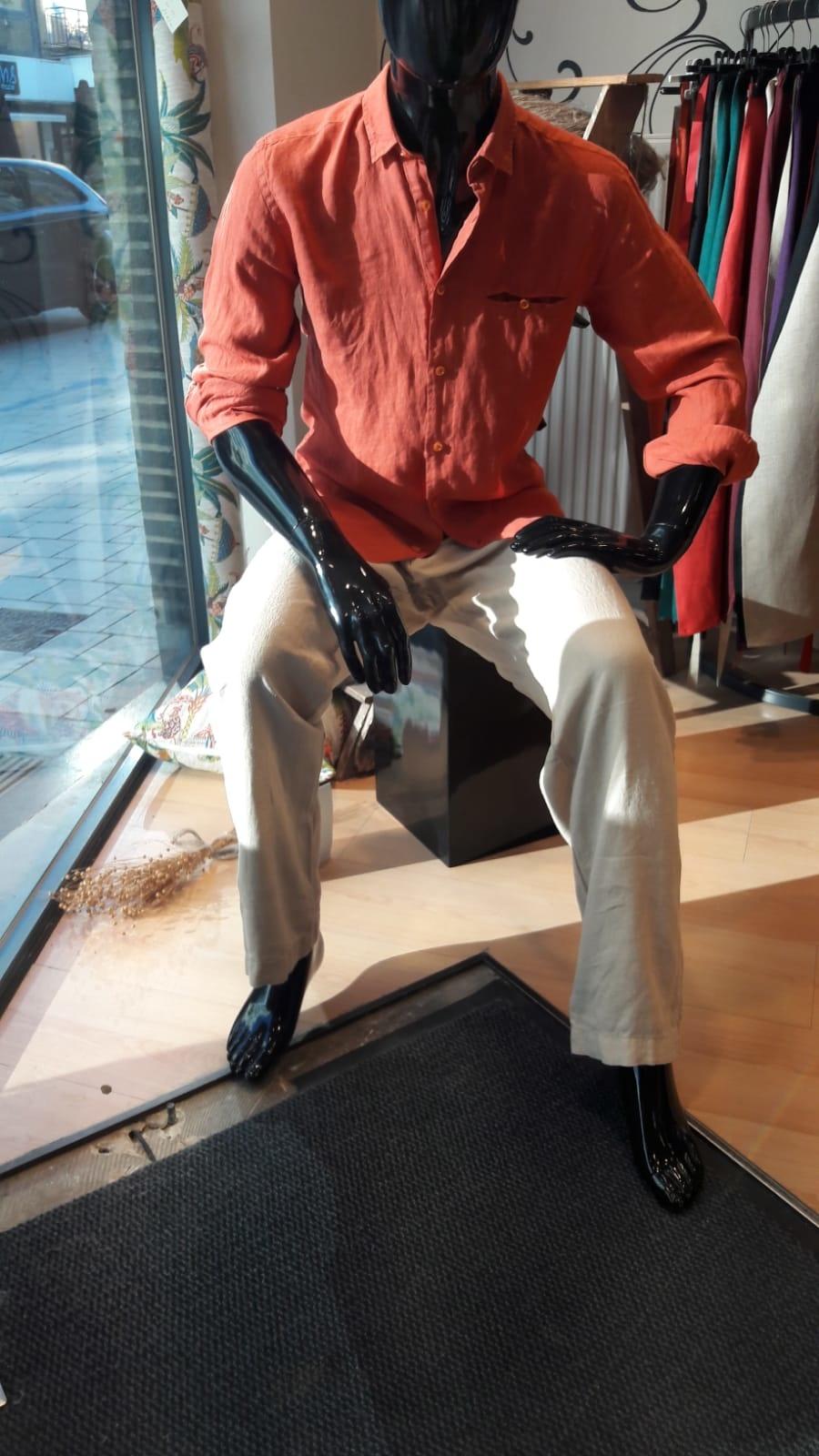 Le grenier du lin Pantalon homme en lin beige
