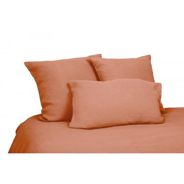 Duvet cover in brick red washed linen