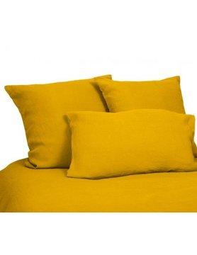 flat sheet in saffron yellow washed linen