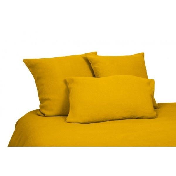 drap plat en lin lavé jaune safran