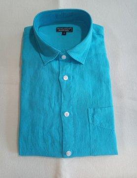 Le grenier du lin Chemise en lin manches longues turquoise