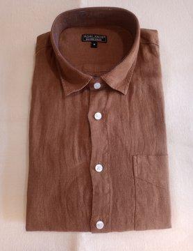 Le grenier du lin Bruin linnen overhemd met lange mouwen