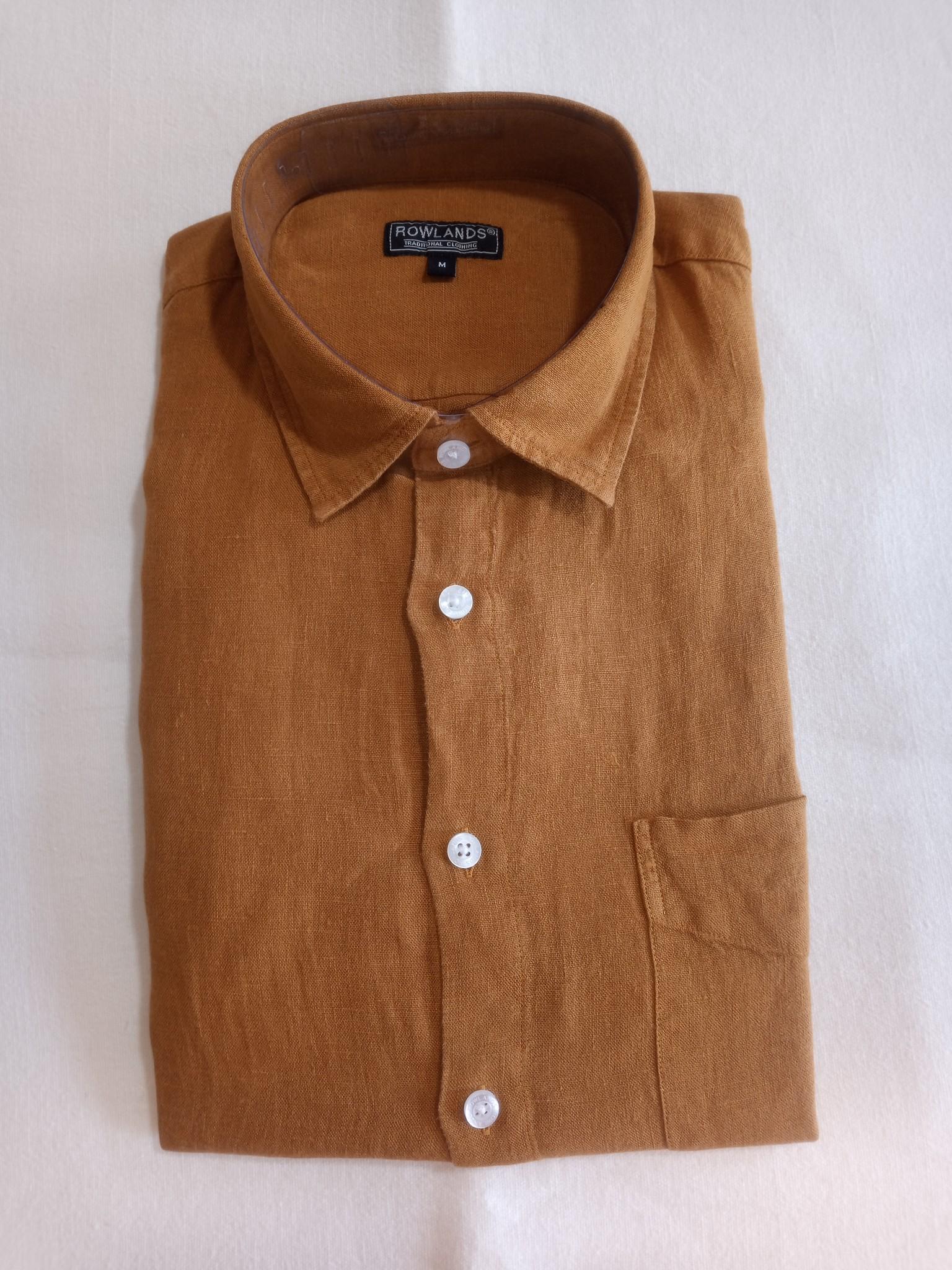 Le grenier du lin Long sleeve linen shirt ochre