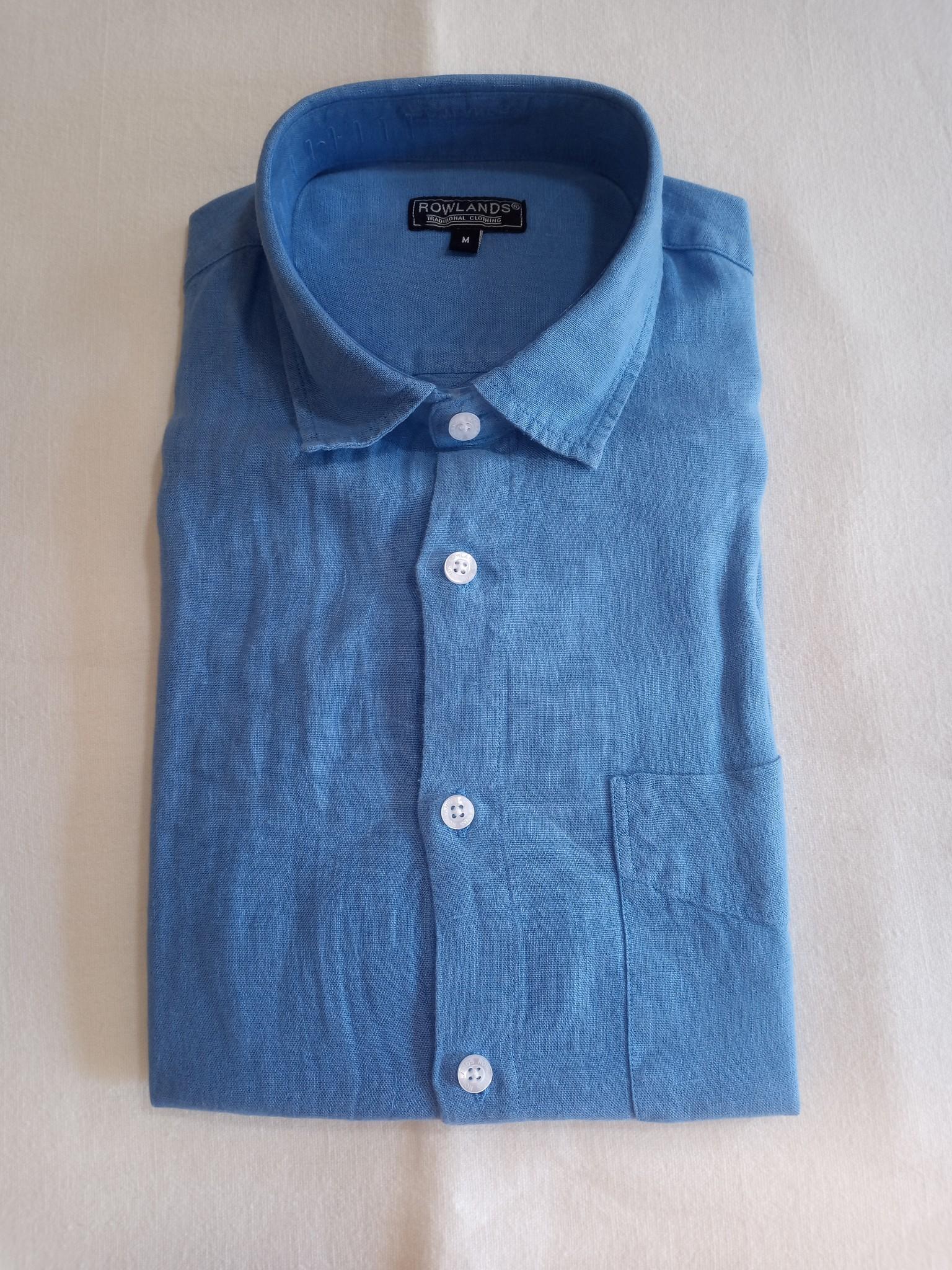 Le grenier du lin Lavendelblauw linnen hemd, lange mouwen