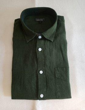 Le grenier du lin Long sleeve linen shirt olive green
