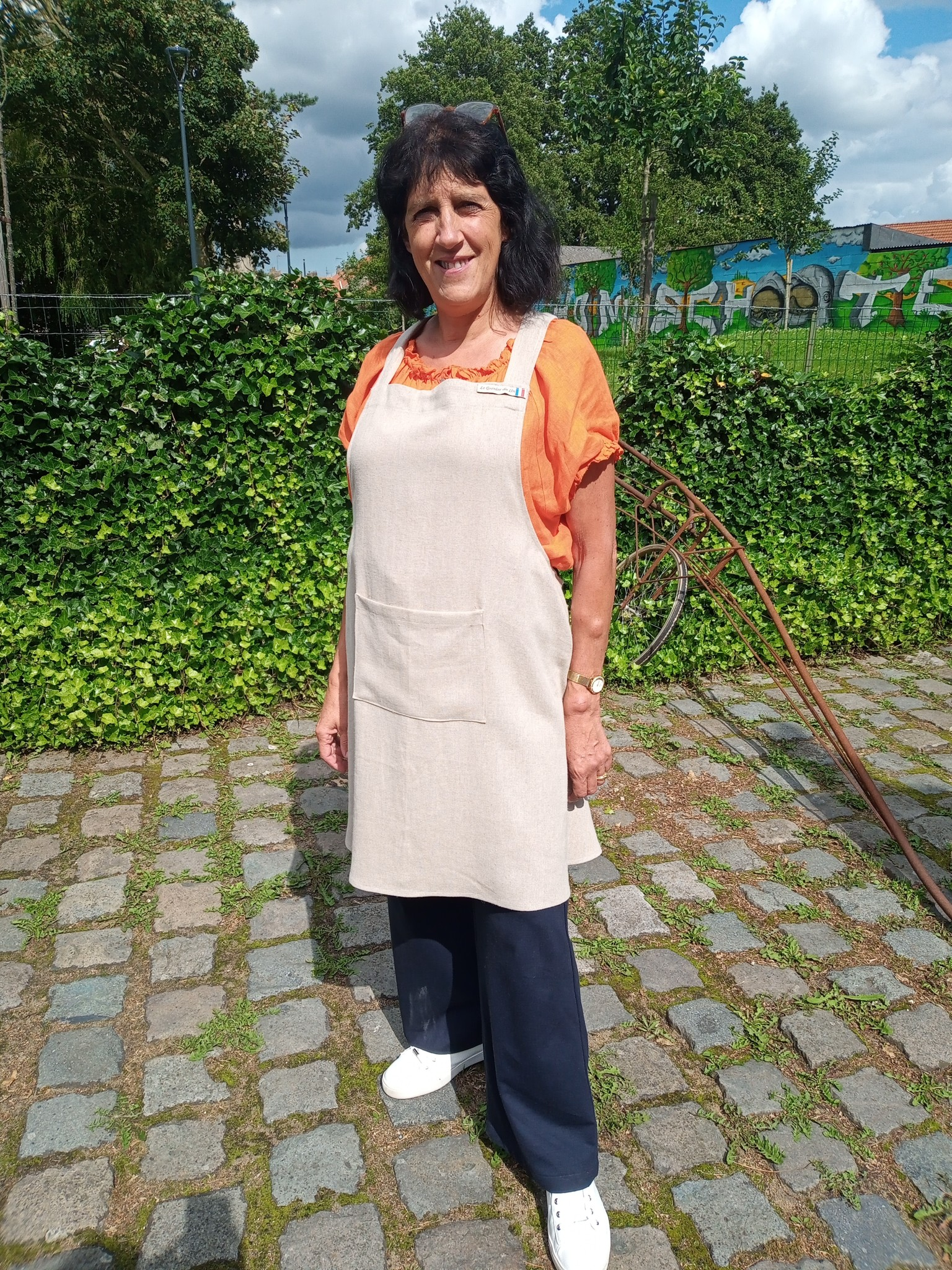 Le grenier du lin Japanese apron in natural linen