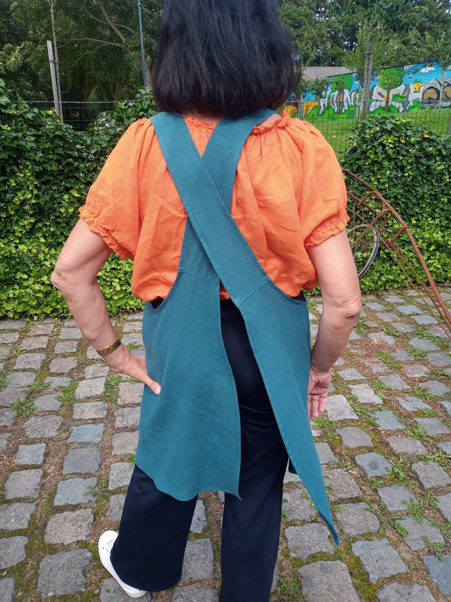 Le grenier du lin Japanese apron in green linen