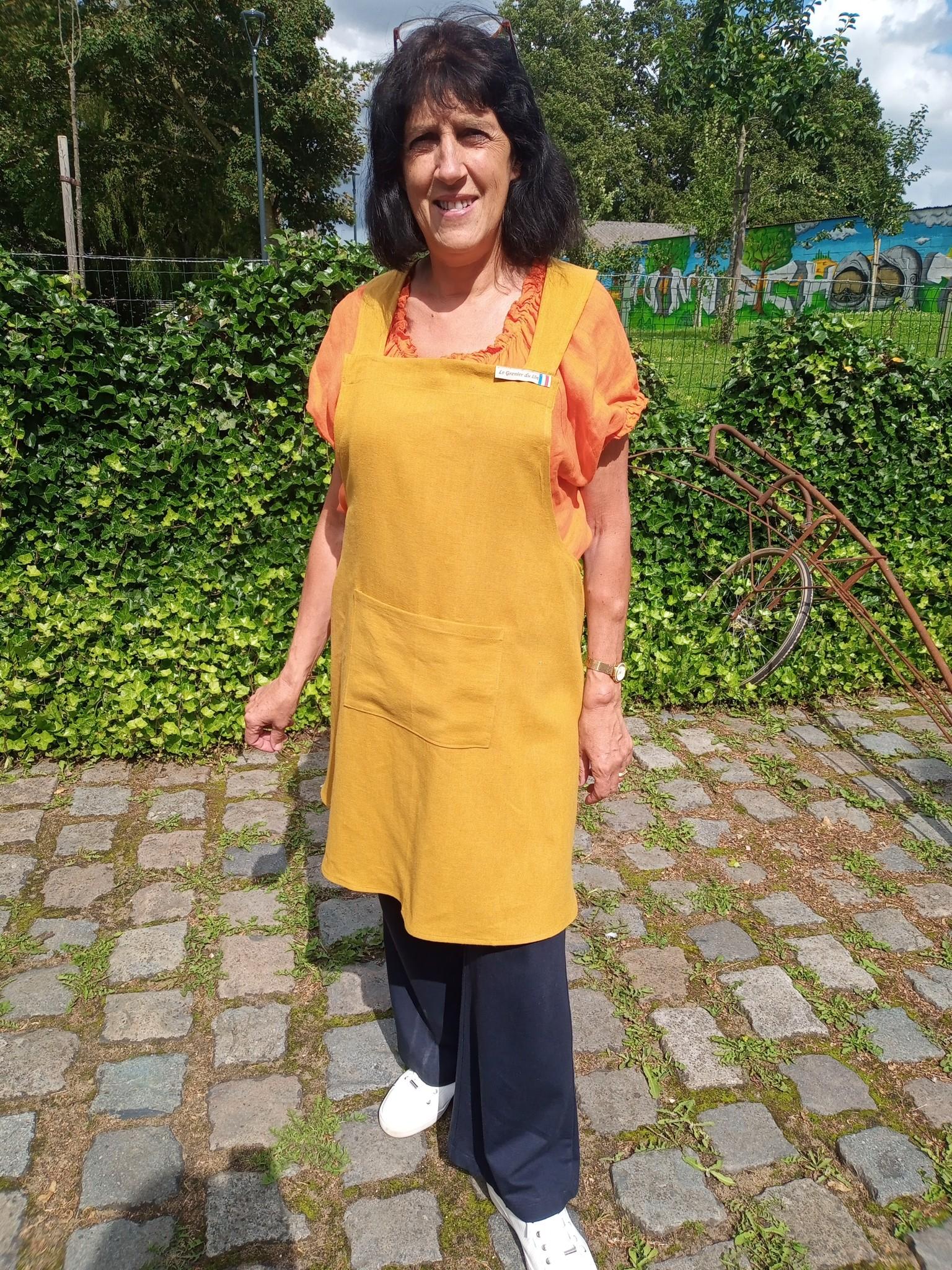 Le grenier du lin Japanese apron in yellow linen